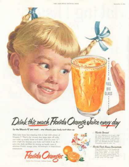 Florida Orange Juice Little Pigtail Girl (1952)