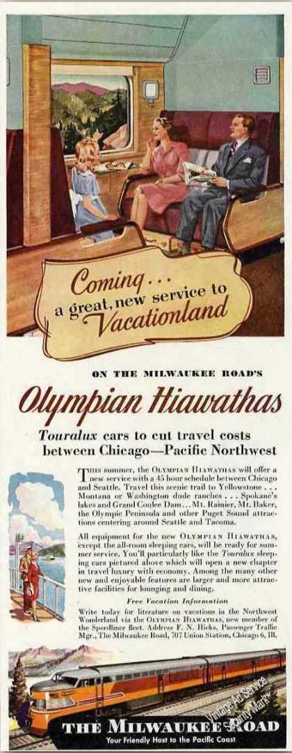 Olympian Hiawathas On the Milwaukee Road Trains (1947)
