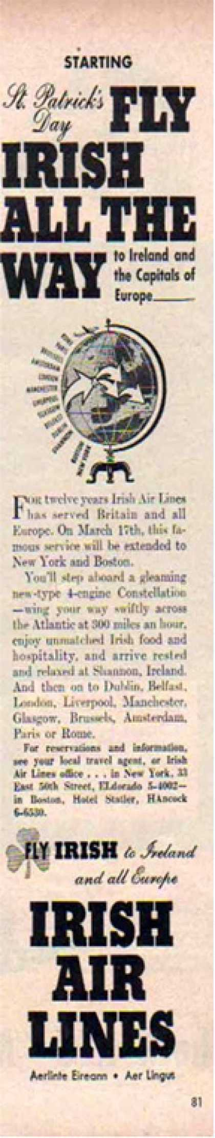 Irish Airlines – St Patrick's Day (1948)