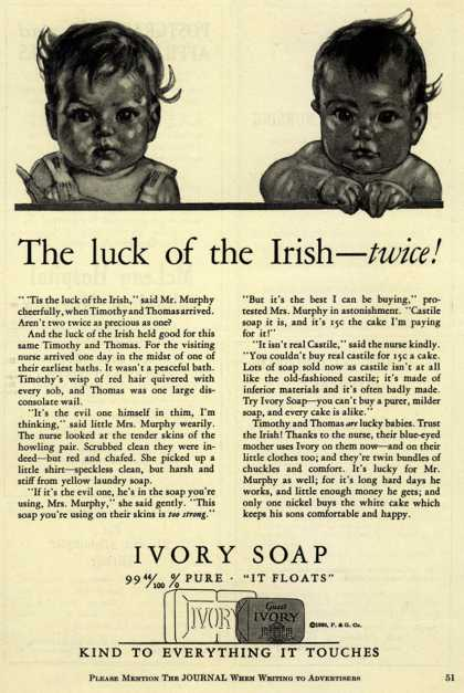 Procter & Gamble Co.'s Ivory Soap – The luck of the Irish – twice (1930)