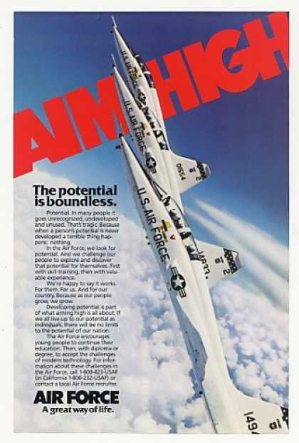 Aim High US Air Force Recruiting Aircraft Photo (1982)