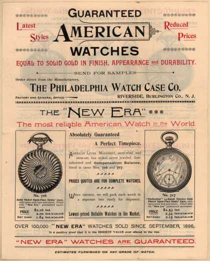 Philadelphia Watch Case Co.'s watches – Guaranteed American Watches (1896)