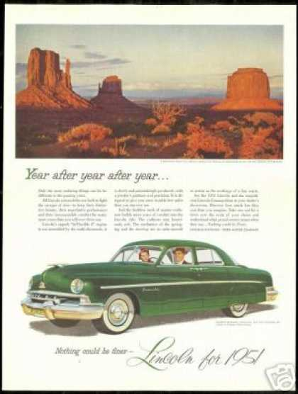Lincoln Car Monument Valley Arizona Utah Photo (1951)