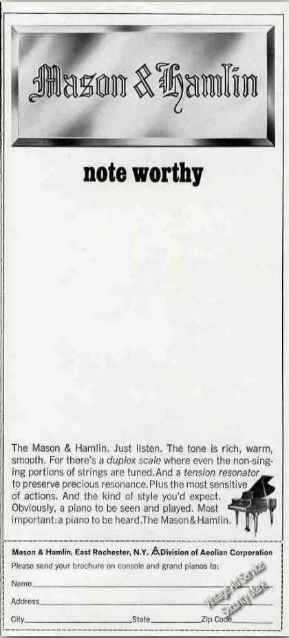 "Mason & Hamlin Grand Piano ""Note Worthy"" (1967)"