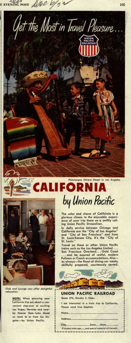 Union Pacific Railroad's California – Get the Most in Travel Pleasure...California by Union Pacific (1952)