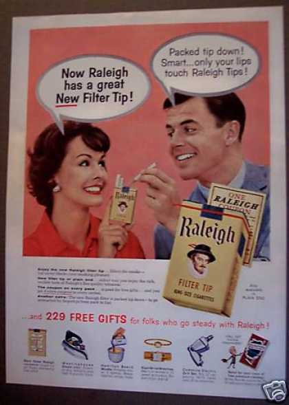 Raleigh Cigarettes New Filter Tip (1958)