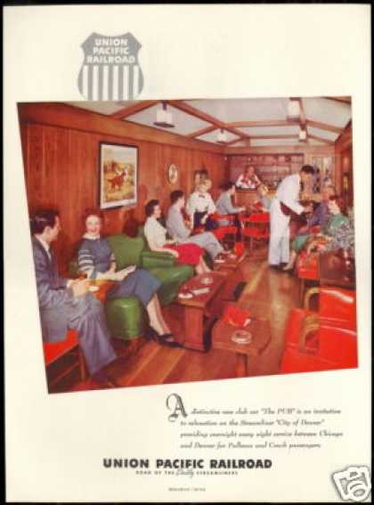 Union Pacific Train Railroad PUB Car Photo (1954)