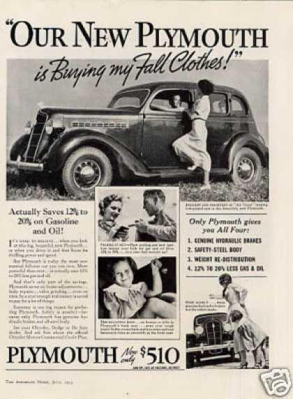 "Plymouth Car Ad ""Our New Plymouth... (1935)"