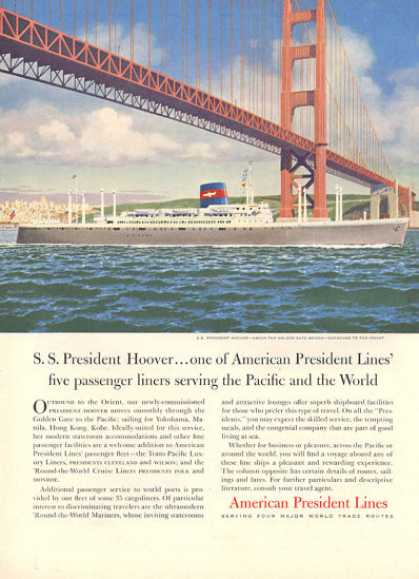 American President Lines Ss Hoover Cruise Ship (1957)