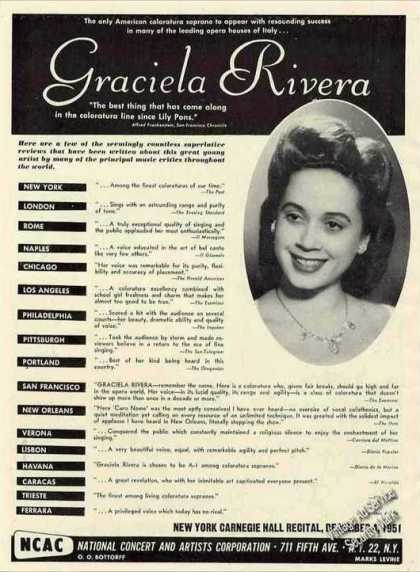 Graciela Rivera Photo Coloratura Soprano Trade (1951)