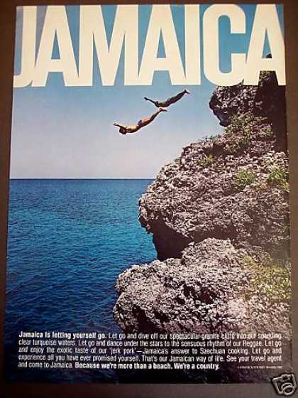 Cliff Diving In Jamaica Vacation Travel Photo (1980)