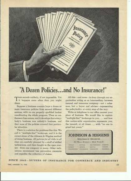 Johnson & Higgins Insurance Brokers Print (1946)