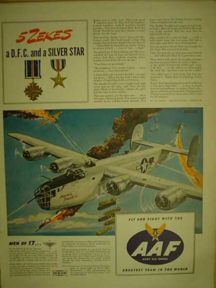 AAF Army Air Force 5 Zekes. DFC and silver star (1944)