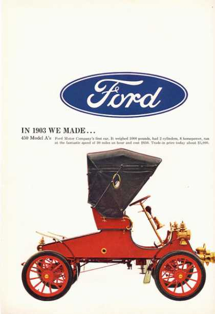 Shows a 1903 Ford First Car Model A (1966)