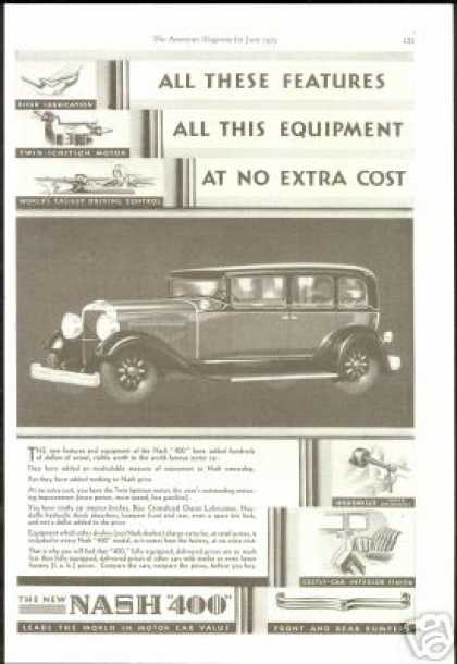 Nash 400 Car Extra Equipment Vintage (1929)