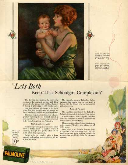 "Palmolive Company's Palmolive Soap – ""Let's Both Keep That Schoolgirl Complexion"" (1924)"
