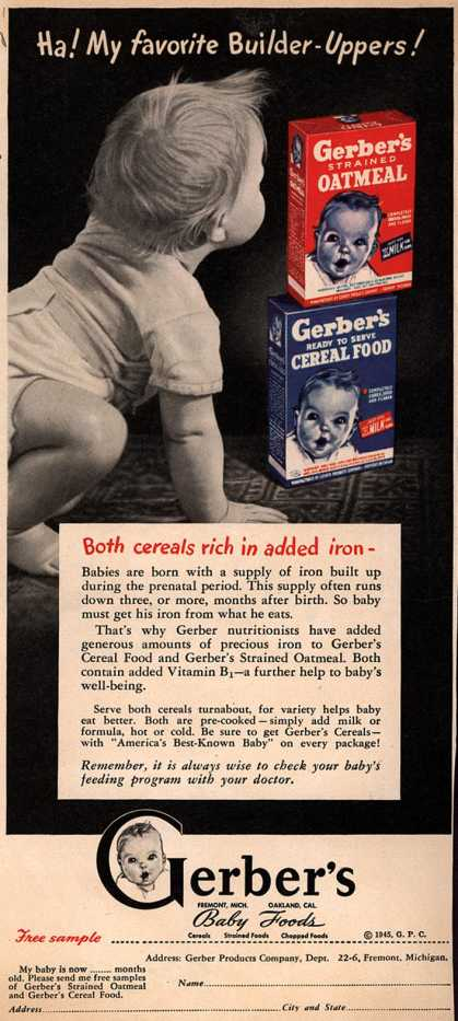 Gerber Products Company's Gerber Cereal Food and Strained Oatmeal – Ha! My Favorite Builder-Uppers (1945)