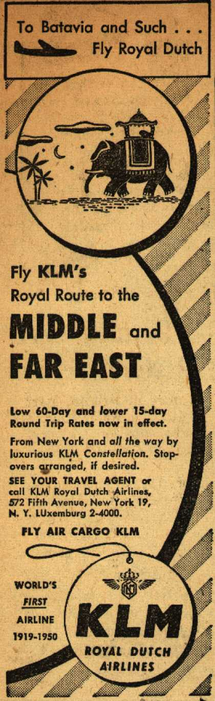 KLM Royal Dutch Airline's Middle and Far East – Fly KLM's Royal Route to the Middle and Far East (1950)