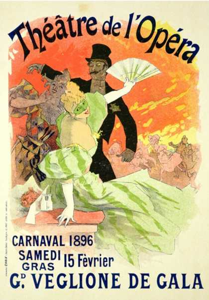Reproduction of a Poster Advertising The Carnival at The Theatre de L'Opera (1896)