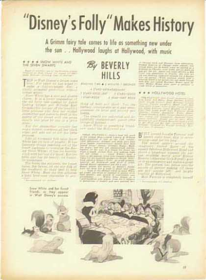 SNOW WHITE Magazine Movie Review by Beverly Hills (1938)