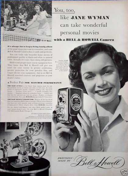 Bell & Howell Movie Camera Jane Wyman Tennis (1949)