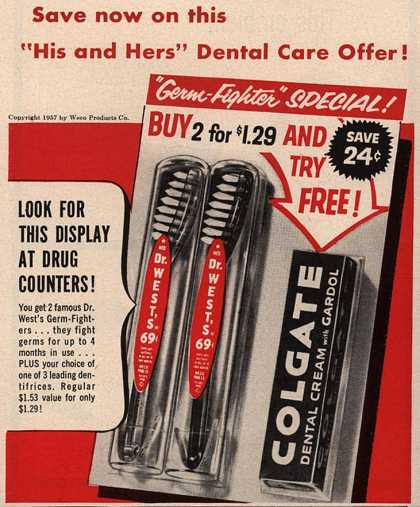 "Colgate – Save now on this ""His and Hers"" Dental Care Offer (1957)"