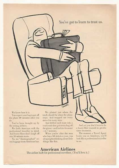 American Airlines Man Bag Trust Us Saxon art (1967)