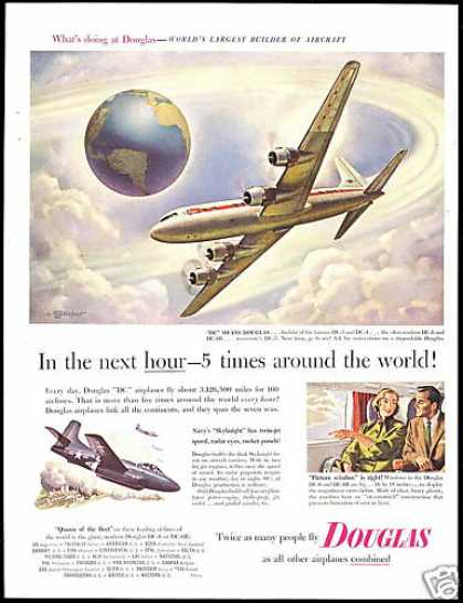 Douglas DC6 DC-6 Airplane Leydenfrost Art (1953)