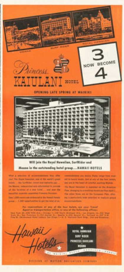 Hawaii Hotels Ad Royal Surf Rider Kaiulani Moana (1955)