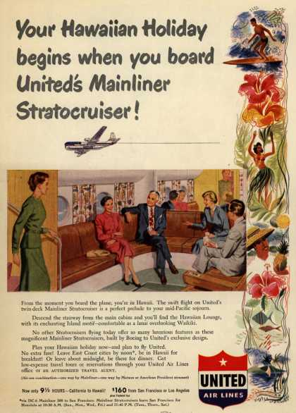 United Air Line's Hawaii – Your Hawaiian Holiday begins when you board United's Mainliner Stratocruiser (1950)