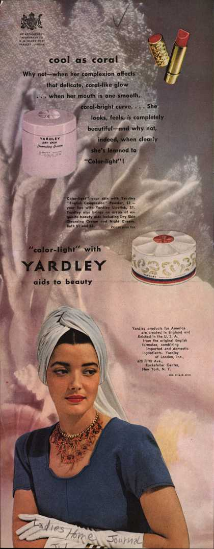 "Yardley of London's Various – Cool as coral... ""Color-light"" with Yardley aids to beauty (1946)"