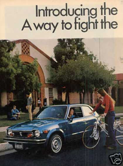 Honda Civic Car Ad 2 Page (1973)