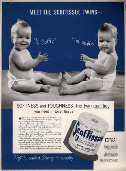 Scott Paper Company's ScotTissue – Softness and Toughness – the twin qualities you need in toilet tissue (1940)