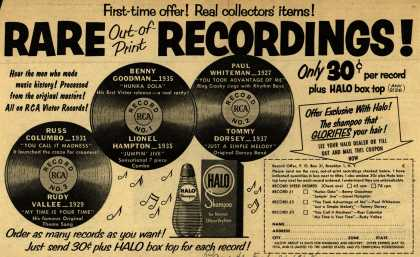 Colgate-Palmolive-Peet Company's Halo Shampoo – Rare Out-of-Print Recordings! Only 30¢ per record plus Halo box top. (1954)