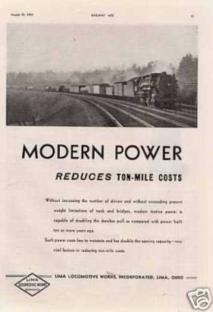 "Lima Locomotive Ad ""Modern Power Reduces... (1935)"