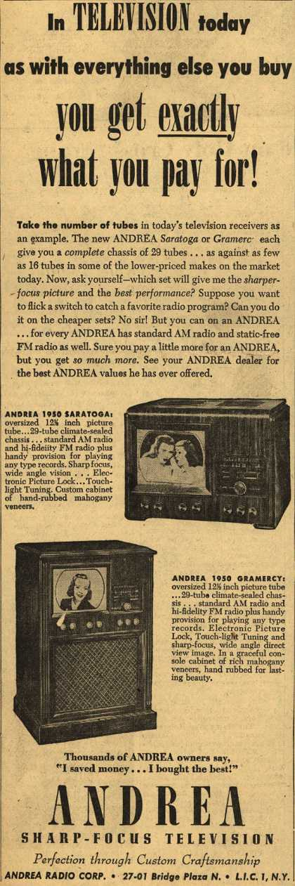 Andrea Radio Corporation's The Andrea Saratoga and Gramercy Televisions – In Television today as with everything else you buy you get exactly what you pay for (1950)