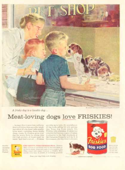Friskies Ad D.crockwell Beagle Puppy In Pet Shop (1956)