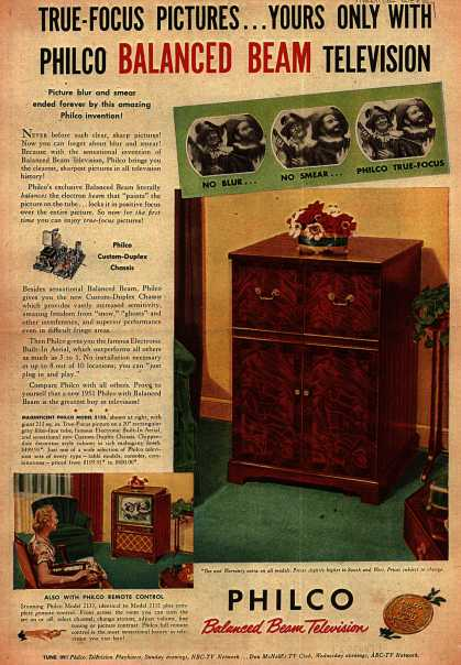 Philco – True-Focus Pictures... Yours Only With Philco Balanced Beam Television (1951)