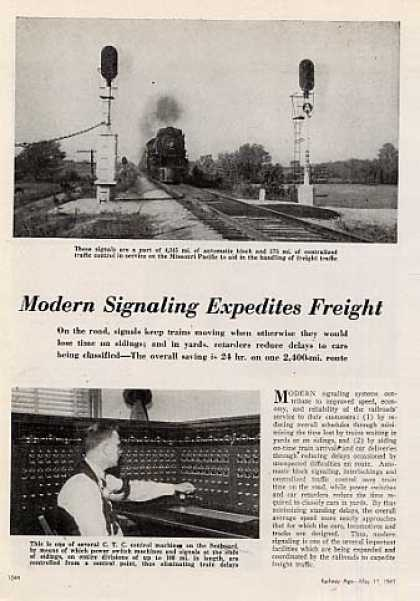"""Modern Signaling Expedites Freight"" Article (1947)"