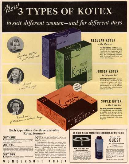 Kotex Company's Sanitary Napkins – Now 3 Types of Kotex to suit different women- and for different days (1935)