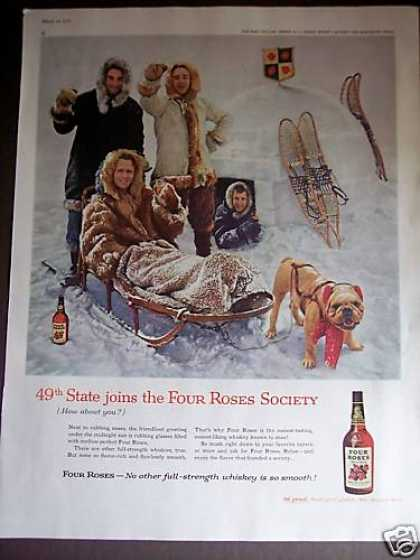 Snowshoes Dog Sled In Alaska Four Roses Whiskey (1959)