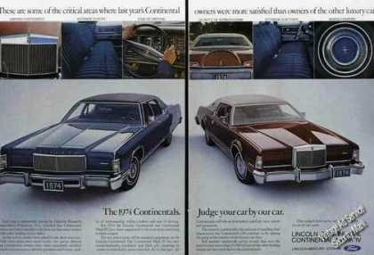 Lincoln Continentals Large Multiple Photos (1974)