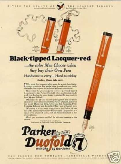 "Parker Duofold Pen Color Ad ""Black-tipped.. (1926)"