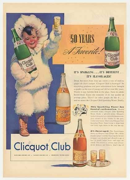 Clicquot Club Soda Ginger Ale Eskimo Boy Color (1940)