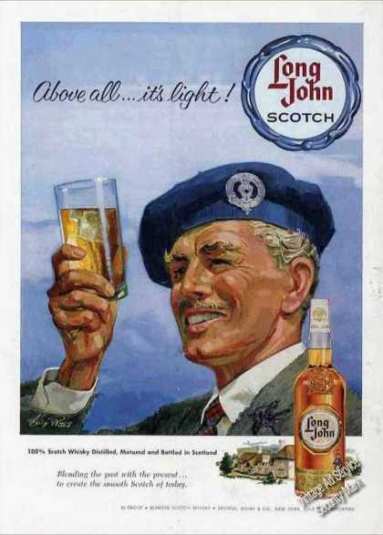 Long John Scotch Ad Nice Alex Ross Art (1959)