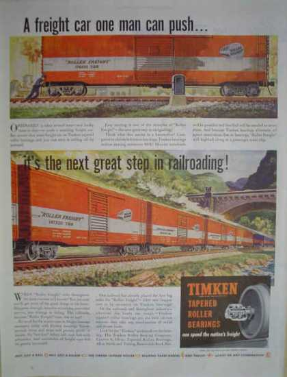 Timken Tapered Roller Bearings Train Theme Roller Freight (1947)