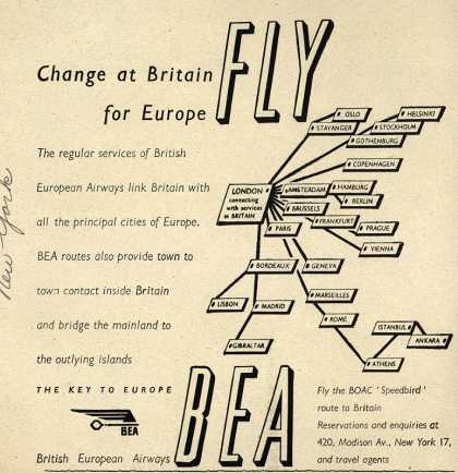British European Airway's BEA – Fly BEA. Change at Britain for Europe. (1947)