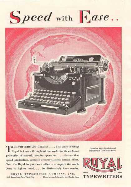 Royal Typewriter Speed With Ease (1929)