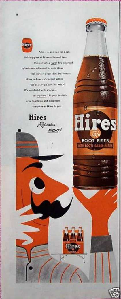 Hires Root Beer Baseball Player Holding Bottle (1955)