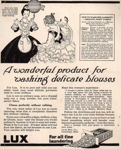 Lever Bros.'s Lux (laundry flakes) – A wonderful product for washing delicate blouses (1917)